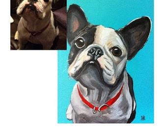 Custom Pet Portrait, Pet Painting, Dog Portrait, Acrylic on Canvas, Dog lover painting
