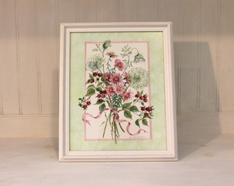 Hand-Painted Flower and Berry Painting