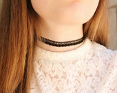 Lace royal vintage Black Necklace, Queen necklace, zipper indie style choker