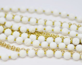 Triple Strand Trifari Necklace White Braided Beads With Gold Chain