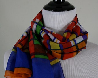 1980s Primary Plaid Sheer Oblong Scarf, Made in Italy