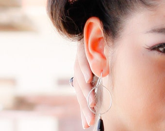 Sterling Hoop Earrings//Onyx Earrings//Long Dangle Earrings//Handmade Jewelry