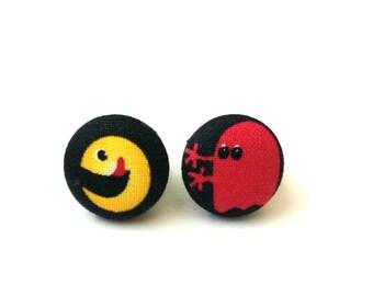 Handmade retro pac man fabric button earrings