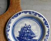 vintage blue delft plate with whaleship