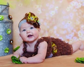 green brown Baby romper set, sash headbnd,romper,baby headband,girls first birthday,vintage headband,lace petti romper,baby photo outfit