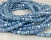 4mm Czech Glass Fire Polished Beads - Light Sapphire Blue Luster (FP009) - Qty 50