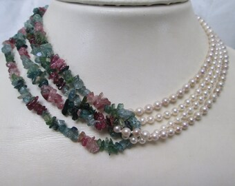 Gorgeously Creative Tourmaline and Pearl Necklace
