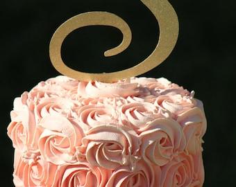 Gold Monogram Wedding Cake topper - Wooden cake topper - Personalized Cake topper