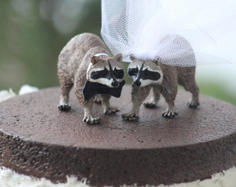 Raccoon Wedding Cake Topper  - Bride and Groom - Rustic Country Chic Wedding