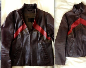 ISABEL MARANT JACKET Lamb Leather Fully Lined Early Line Gorgeous Moto style Brown Red Stunning Rare