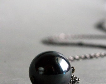 Silver ball necklace Hematite ball necklace  - Dull silver necklace