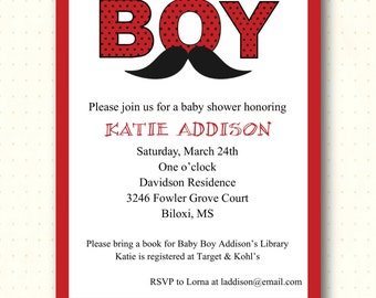 Baby Shower Invitation, boy, mustache, red, black, white, sprinkle, birthday, digital, printable, invite, B1458