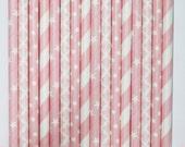 50  Baby Girl Paper Straw Mix  PAPER STRAWS birthday party event cake pop sticks pink white