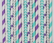 50  Frozen Paper Straw Mix  PAPER STRAWS birthday party event cake pop sticks silver purple teal aqua