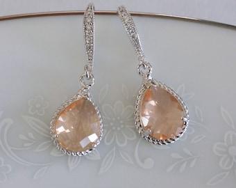 Peach Bridesmaid Earrings, Peach Bridesmaid Jewelry, Crystal Champagne Earrings Bridal Earrings Peach Earrings