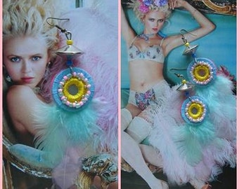 PETIT TRIANON EARRINGS No.2, feathered beaded felt, Pastel candy colors, Marie Antoinette, Spring Blossom, Boudoir Princess