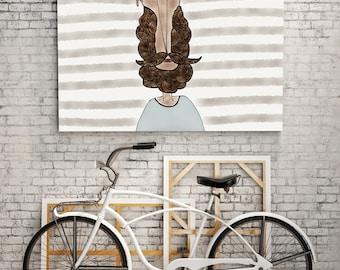 PRINT | BEARD LOVE / Striped: Illustration Print.