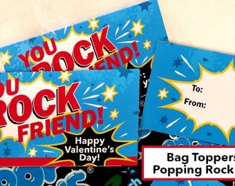 Valentine Popping Rocks Bag Topper, Printable Digital File, For Boys and Girls, 2 Colorways, Instant Download