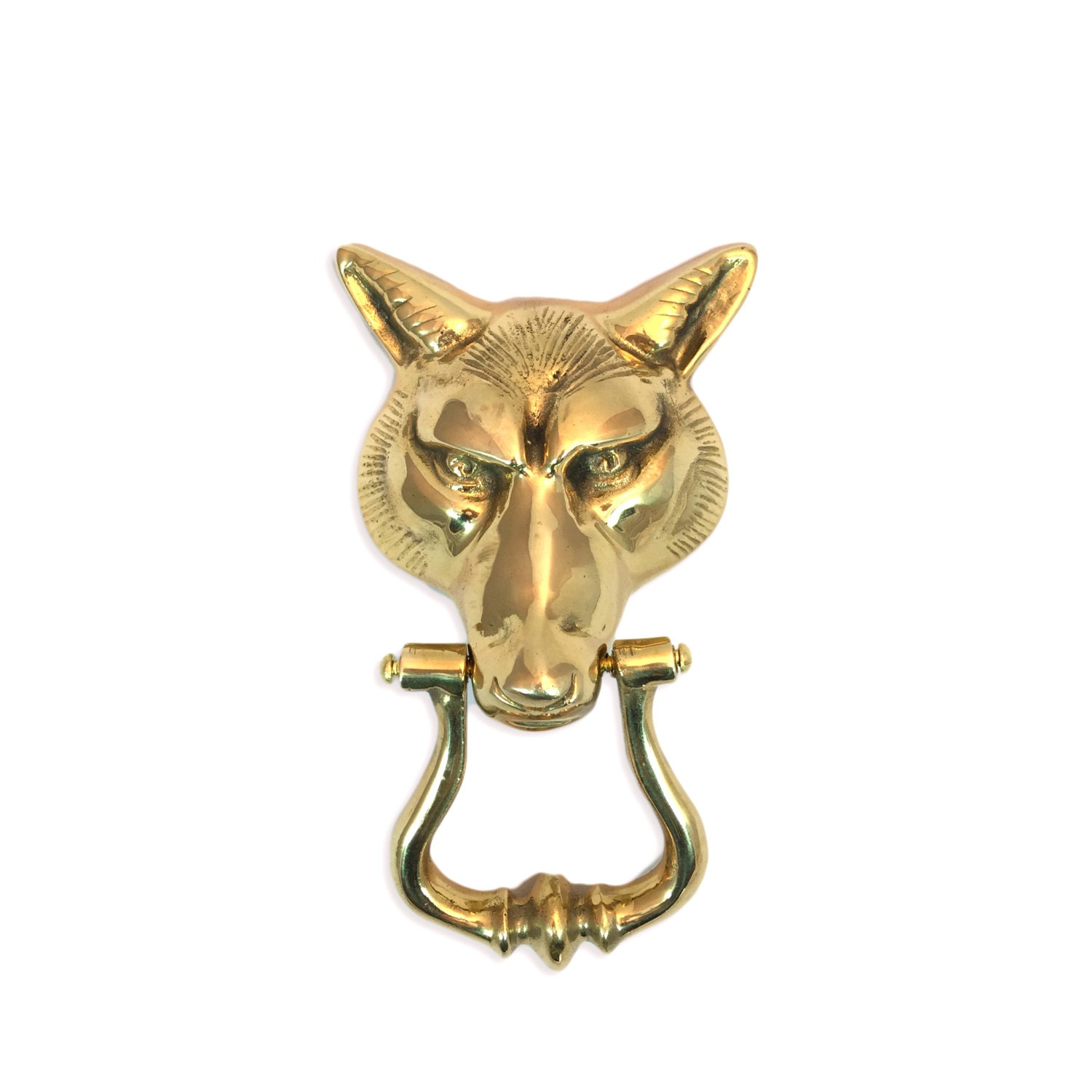 Large Vintage Brass Fox Head Door Knocker Mid By Harpersflea