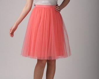 Coral tulle skirt, Light tulle skirt, Handmade tutu skirt, Adult tulle skirt, Adult tutu skirt, Tulle petticoat
