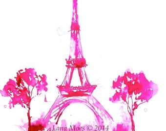 Eiffel Tower Print, Paris Illustration, Pink Paris, Paris in Bloom, Lana Moes' Wanderlust Art, Girl Room, Pink Decor, Pink Art, Nursery Art