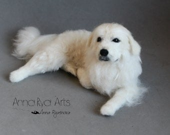 Great Pyrenees-Custom Needle felted big - portrait dog - Wool animal sculpture- eco friendly art-Collectible artist animals