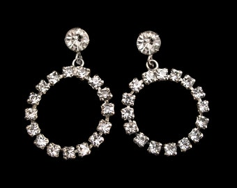 Vintage Rhinestone Dangle Hoop Earrings