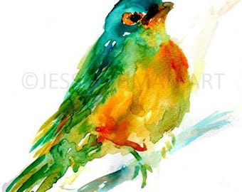 "Print of Original Watercolor Painting, Titled: ""Cooper, the Green Bird"" by Jessica Buhman 8 x 10 Green Yellow Blue Orange Turquoise"