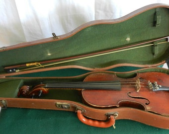 SALE Vintage Violin & Bow with Original Case