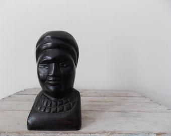Vintage Carved Wooden Folk Art Bust Solid Wood Human Face Figure
