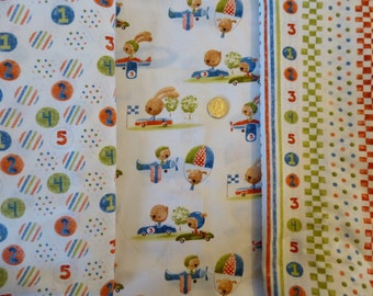 Nursery Boy's RaceCar /Airplane Coordinating Cotton Fabric Fat Quarter Yardage Quilt Bundle / Bear, Puppy, Bunny, Racing Stripes, Numbers