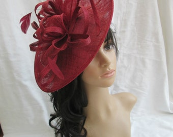 Burgundy Fascinator..Stunning shaped Burgundy Sinamay Fascinator Hat on a Headband