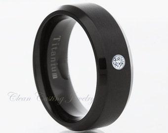 Men's Titanium Wedding Band,White Diamond Ring,Anniversary Band,Engagement Ring,Titanium Band,Handmade,His,Hers,8mm