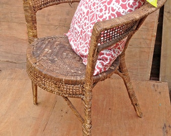 rustic brown wicker chair. bedroom furniture, kitchen/dining chair (contact us for delivery quote)