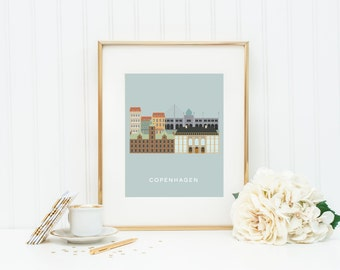 Copenhagen City Print, European City Art, Last Minute Gift, Modern Art Print, Home Decor, Copenhagen Wall Art, INSTANT DOWNLOAD
