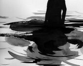 """Figure Water Ink Drawing Gothic Dark Shadow Silhouette Fine Art """"Immersion No. 42"""""""