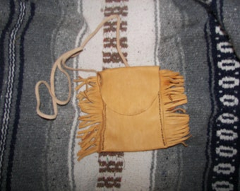 Handmade Hand Sewn Leather Neck Bag with Fringes by Heidi Clauson