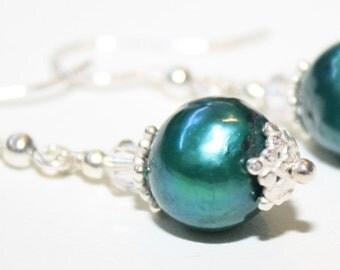 Pearl Earrings Green Pearl Earrings Sea Green Pearl Earrings Pearl and Silver earrings