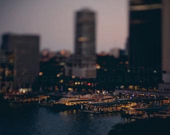 Sydney at Dusk II - Photographic Print - Australia, night, harbour,bokeh, circular quay, Bohemian, travel, boho, Wall, Decor, Hanging,
