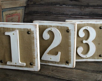 Rustic Distressed White Wood and Burlap Table Numbers