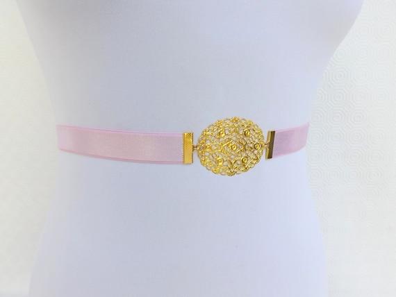 Light pink elastic waist belt. Gold floral filigree buckle. Baby pink Bridal belt. Bridesmaid Belt. Pastel pink belt.
