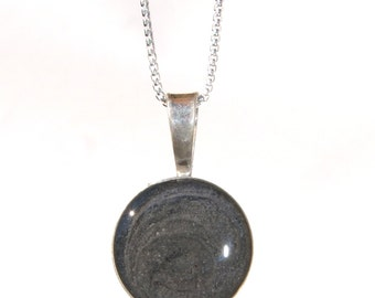 Circle Cremation Pendant, 20mm - Sterling Silver Pet Ashes Jewelry