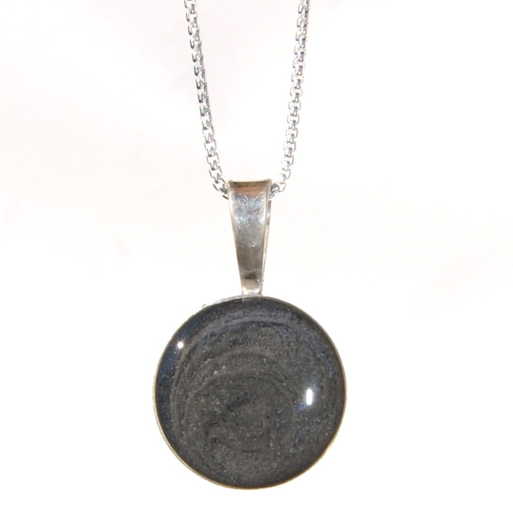 circle cremation pendant 20mm sterling silver pet ashes