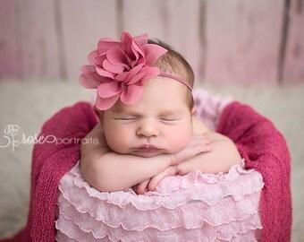Pink Newborn Headband, Mauve Baby Headband, Newborn Photo Prop, Flower Girl Headband, Baby Girl Prop
