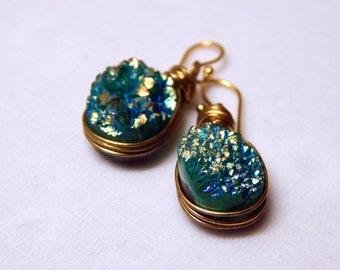 Envy | Green Druzy Earrings