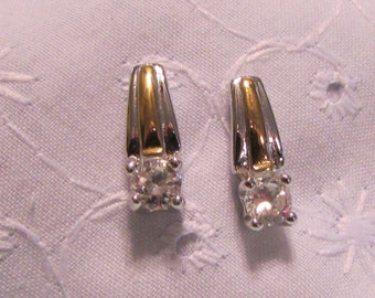 Earrings, Pierced Silver & Gold with Prong Set CZ or Rhinestone ~ BreezyTownship.etsy.com ER005