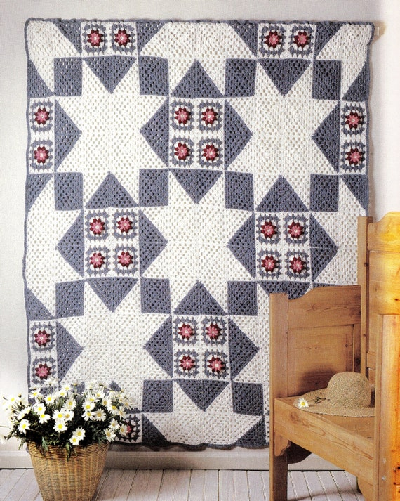 Crochet Quilt afghan Blanket pattern PDF Instant Download star Afghan crochet blanket throw epsteam blue crochet patterns upload home decor