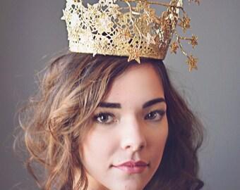 Gold Crown Tiara, Fascinator, Princess Crown, Derby Hat, Birthday Crown, Derby Crown,  Millinery, Kentucky Derby Hat, Steeplechase Hat