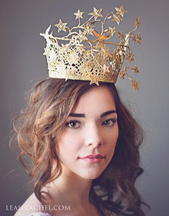 Goldene Krone, goldene Tiara, Crown Princess, Geburtstag Krone, Dubai World Cup Hat, Fascinator, Millinery, Kentucky Derby Hut, Steeplechase Hut,