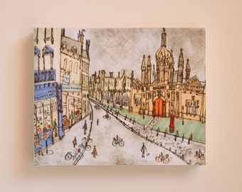 King's College Cambridge England/ Cambridge Shops/ Signed Box Canvas Print/ Drypoint print by Clare Caulfield/ Kings Parade Art